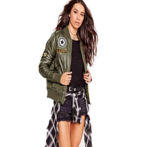 Bomber da donna imbottito, stile vintage con zip, tagli: dalla 38 alla 58 Khaki with Badges 42 / M