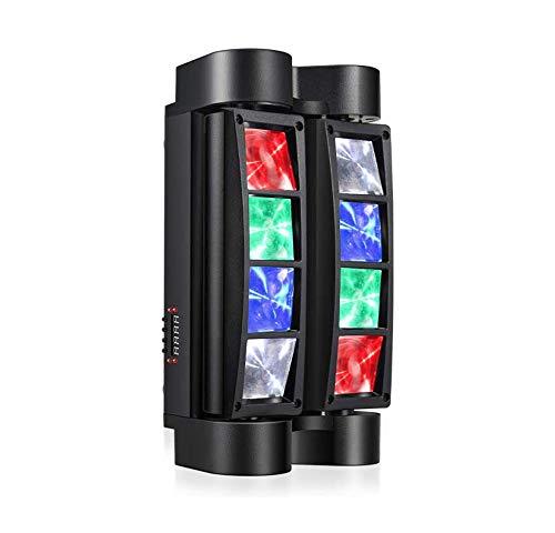 Kacsoo Mini Spider Moving Head Light, Led Moving Beam Light, Disco Lights 8 x 3W DMX 512 Dual Sweeper Pulse Strobe Effect Lights for Party Club DJ Disco Bar Ball Room KTV (1PC)