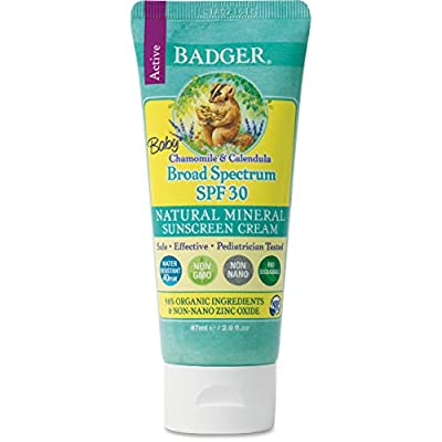 Badger - SPF 30 Baby Sunscreen Cream with Zinc Oxide - Broad Spectrum & Water Resistant, Reef Safe Sunscreen, Natural Mineral Sunscreen with Organic Ingredients 2.9 fl oz