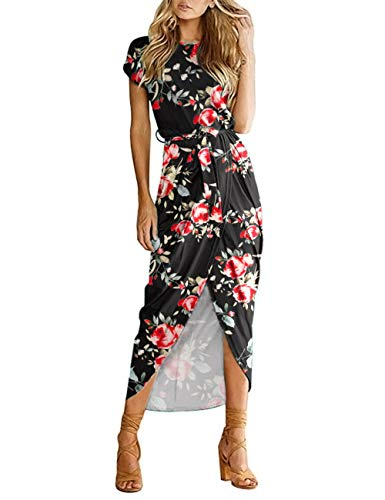 AUSELILY Women's Casual Summer Cap Short Sleeve Loose Slit Party Long Maxi Print Floral Pleated Dress with Belt (22, Rose Black)