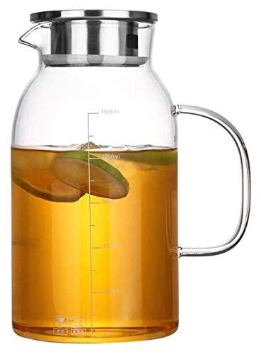 1800ml Tetera Agua Jarras de jarras de Vidrio Hielo frío frío con Tapa Lanzador de Agua Jarra de Vidrio Borosilicato y Acero Inoxidable Tapa de Vidrio Tarifa de Vidrio Té Helado Té