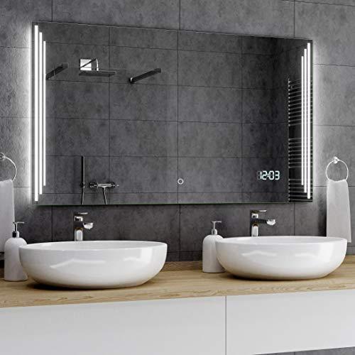 Alasta® Badkamerspiegel met LED-Verlichting - 120x60 cm - Model Praga - Spiegel met Aanraaklichtschakelaar en LED Klok