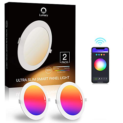 Downlight Led Techo Inteligente Ultrafina 18W 1440LM, Lumary LED Empotrable Techo con Caja de Conexiones Controlada por APP, Funciona con Alexa, Google Home(18W-2PCS)