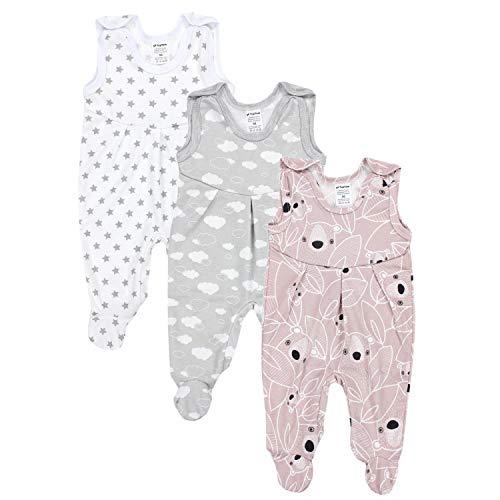 TupTam Baby Mädchen Strampler mit Fuß 3er Pack, Farbe: Farbenmix 1, Größe: 62