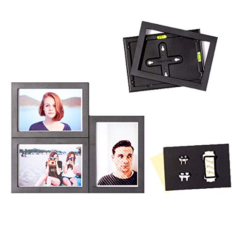 magnetic picture frames MAGNAFRAME Magnetic Collage Picture Frames for Classic 4x6 Size Photos - Photo Gallery 4 Pack (Black)
