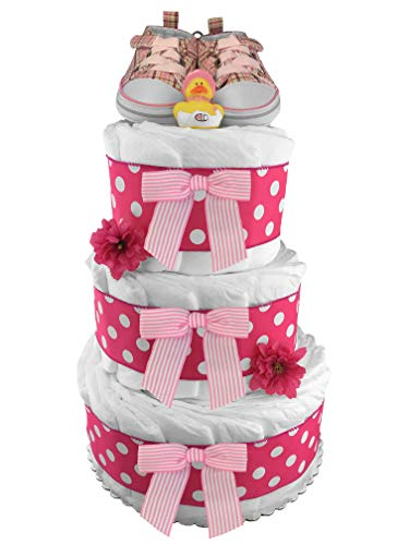 Pink Tennis Shoes Diaper Cake - Girl...