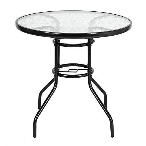 NEW 31.5' Round Cast Aluminum Outdoor Dining Table Garden Patio Furniture Black
