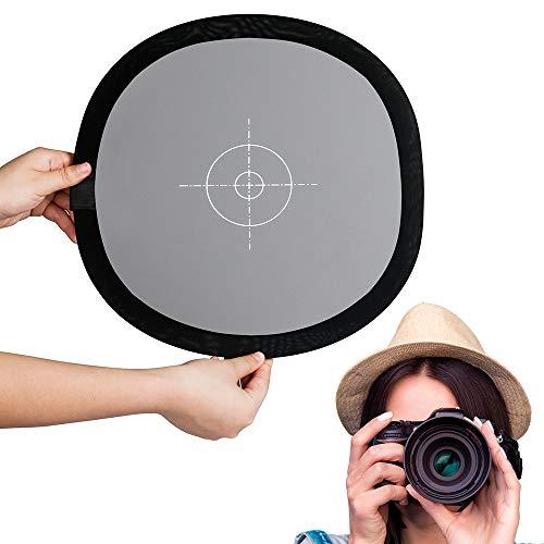 Fotover Graukarte Weißabgleich(Aktualisierung) Faltbar 18% Graukarte Weissabgleich Zwei Seiten 12x12 Zoll White Balance Referenzkarte für Canon Nikon Sony Pentax Fuji Olympus Kamera mit Tragetasche