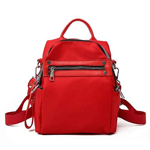 Mochila de piel para mujer, estilo escolar, para universidad, diseño simple, para mujer, casual, mochila femenina, marcas famosas, Rojo (Rojo) - shoulder-handbags