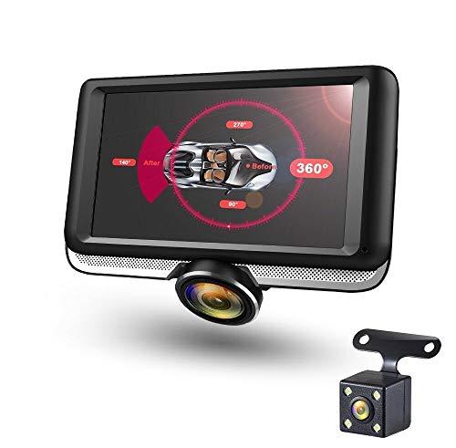 360 Grad Panorama DashCam Autokamera mit 4,5\' IPS Display, Loop-Aufnahme, G-Sensor mit Rückfahrkamera, Full HD 1080P