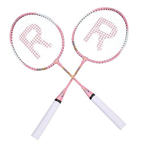 SANON Badminton Rackets, Cartoon Durable Ferroalloy Badminton Racket Racquet for Kids Training Practice,1 Carrying Bag Included(Pink)