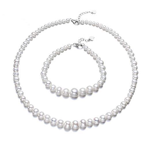 Conjunto de Collar y Pulsera de Perlas Naturales de Agua Dulce Perlas Cultivadas y Cierres de Plata de Ley para Mujer Juego de Joyas Clasico con Perlas Desde 4 a 10mm