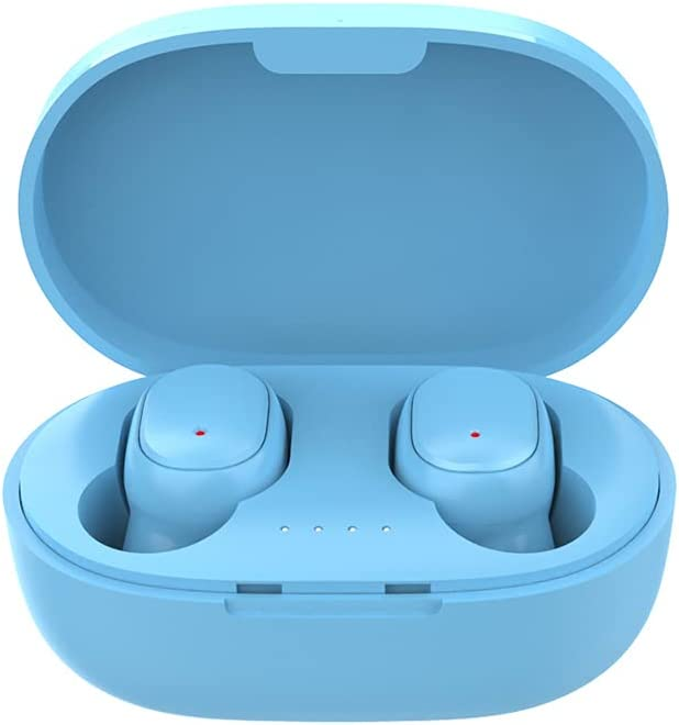 A6S Pro TWS True Wireless Earbuds/ONE Touch Voice Assistant/Noise Reduction/Music 4 Hs/Extra Light/Compact Charging Box/Black, Blue, Green, White, Pink (Light Blue)