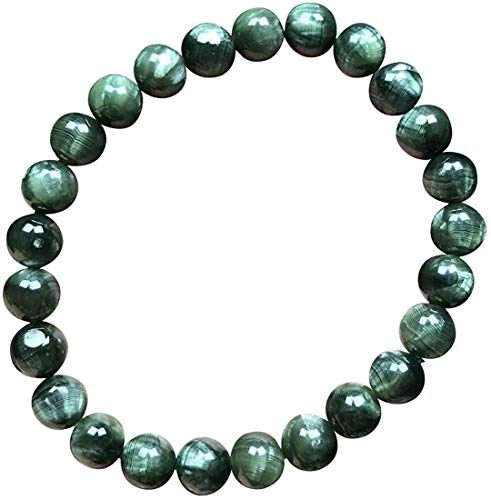 DUOVEKT DAKMAG - Pulsera de serafinita verde natural de 7,5 mm para mujer y hombre, cuentas redondas de cristal