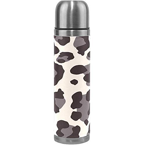 Ciciera-Shop Black Tiger Skin Thermoskanne Sport Wasserflaschentöpfe Edelstahl Isoliervakuumflasche Leder Umwickelt (500 Ml)