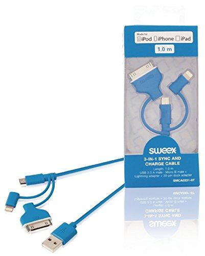 Sweex - Cable De Carga Y Sincronización 3 En 1 USB 2.0 A Macho - Micro B Macho + Adaptador Lightning + Adaptador De Base De 30 Pines De 1,00M En Color Azul