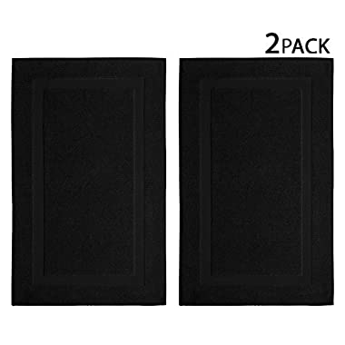 Cotton Craft 2 Pack Bath Mat - Black - 100% Ringspun Cotton Tub Mat 21x34 - Oversized 21x34 Heavy Weight 1000 Grams - 2 Ply Construction - High Absorbent - Soft Underfoot Easy Care Machine Wash