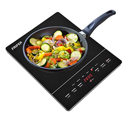 Placa de inducción, 2000 W, portátil, vitrocerámica, con pantalla digital, placa de inducción individual, sensor táctil, temporizador 2000 W