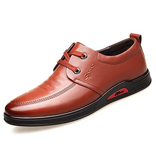 DIYHM Lace Up Style Loafer para Hombres Cuero Literal Delantal Zapatos Slight Resistentes Placa Pull Tap Tap Muessor Deporte Deporte (Color : Brown, Tamaño : 44 EU)