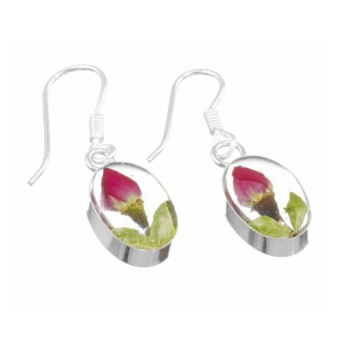 Sterling Silver drop earrings with real roses - oval + free giftbox