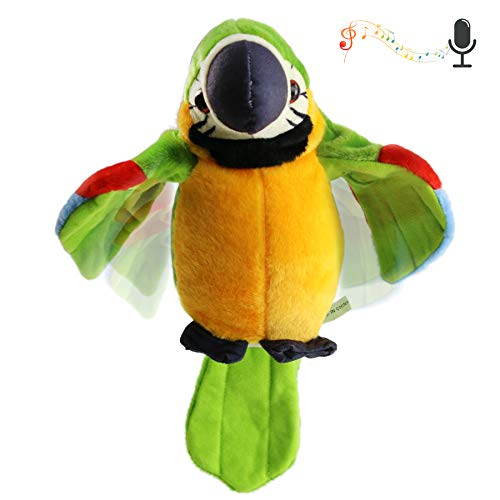 Houwsbaby Speaking Parrot Record Repeats Electronic Bird Talking Pet Stuffed Animal Waving Wings Plush Toy Interactive Animated Kids Gift, 9 in (Green)