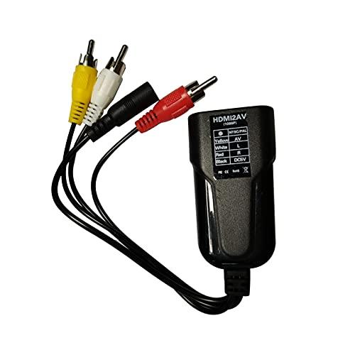 Esenlong HDMI - compatible con convertidor AV, cable adaptador de audio de vídeo 1080P HDMI - compatible hembra a 3RCA macho convertidor