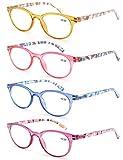 Un Pack de 4 Gafas de Lectura 3.0/Gafas para Presbicia Mujeres,Buena Vision Ligeras Comodas,Vista de...