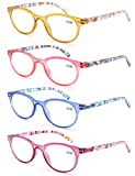 Un Pack de 4 Gafas de Lectura 3.0/Gafas para Presbicia Mujeres,Buena Vision Ligeras Comodas,Vista de Cerca/Vista Cansada
