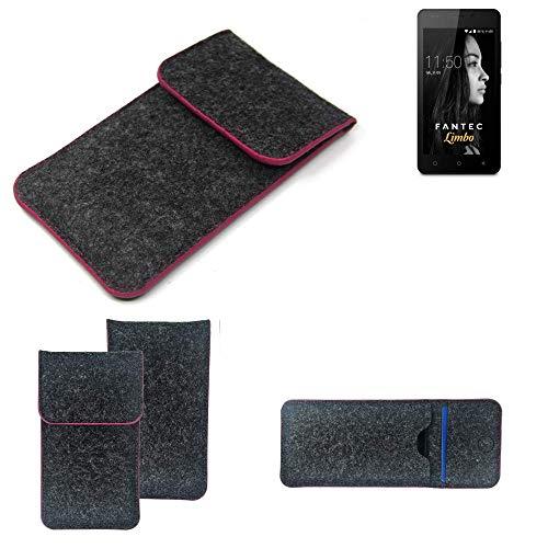 K-S-Trade Filz Schutz Hülle Für FANTEC Limbo Schutzhülle Filztasche Pouch Tasche Hülle Sleeve Handyhülle Filzhülle Dunkelgrau Rosa Rand