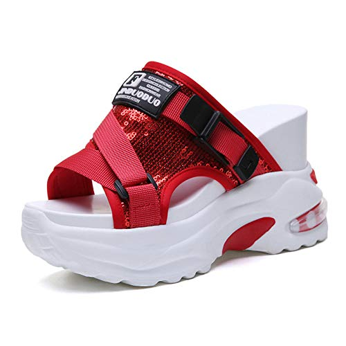 YYFF Planas Zapatos de Playa y Piscina,Pantofole Cool aumentate,Paillettes gouting Shoes-Red_37,Chanclas Mujer
