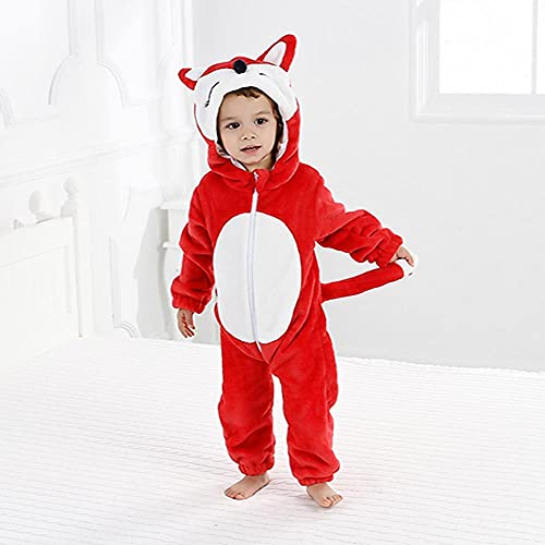 LKHJ Pijamas Enteros Mameluco de Franela para niños y niñas, Mono de Manga Larga, Panda, patrón de león, Dibujos Animados, Mameluco de Invierno para-Colorete·_80