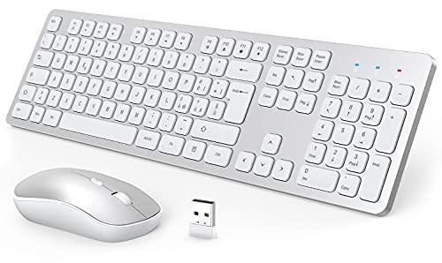 Mouse e Tastiera Wireless, 2.4G Set Tastiera e Mouse, Ultra Sottile Silenzioso Tastiera Computer Wireless, 2-in-1 USB Kit Tastiera Mouse per PC/Laptop/Smart TV (Bianca)