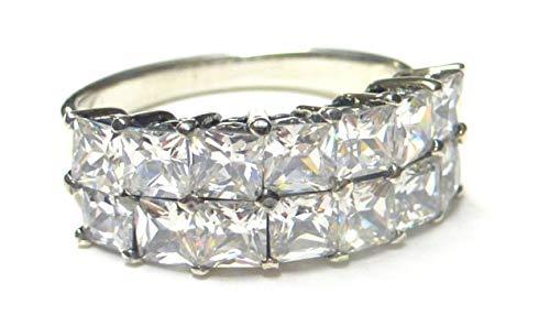 LetsBuySilver - Anello in argento sterling 925 con zirconia cubica, misure disponibili da 10,5 a 28,5 e Argento Sterling, 57 (18.1), colore: argento, cod. Z - 2410