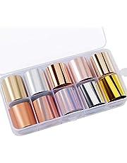 Nail Foil Transfer Sticker 10 Rollos Lámina de Uñas holográfica Tips Wraps Kit Manicura Transferencia para DIY Manicura Decoración