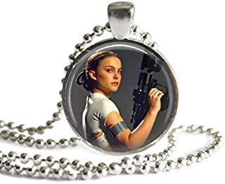 Star Wars Padme Amidala 1 Inch Silver Plated Pendant Necklace or Keychain