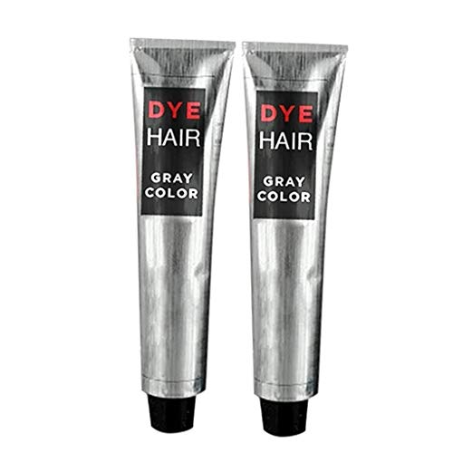 100ml Hair Color Super Gray Dye Hair Cream,Unisex DIY Fashion Gray Silver Color (Gray 2×100ml)