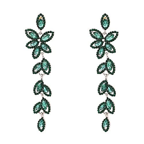 Pendientes colgantes de borlas de hojas largas, dijes de joyería de moda, pendientes de gota de piedra de cristal verde para mujeres, regalos