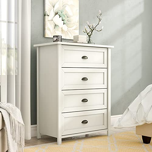 Dressers & Chests of Drawers-Soft White Dresser, Four Drawers-Practical Storage Organizer for Your Belongings