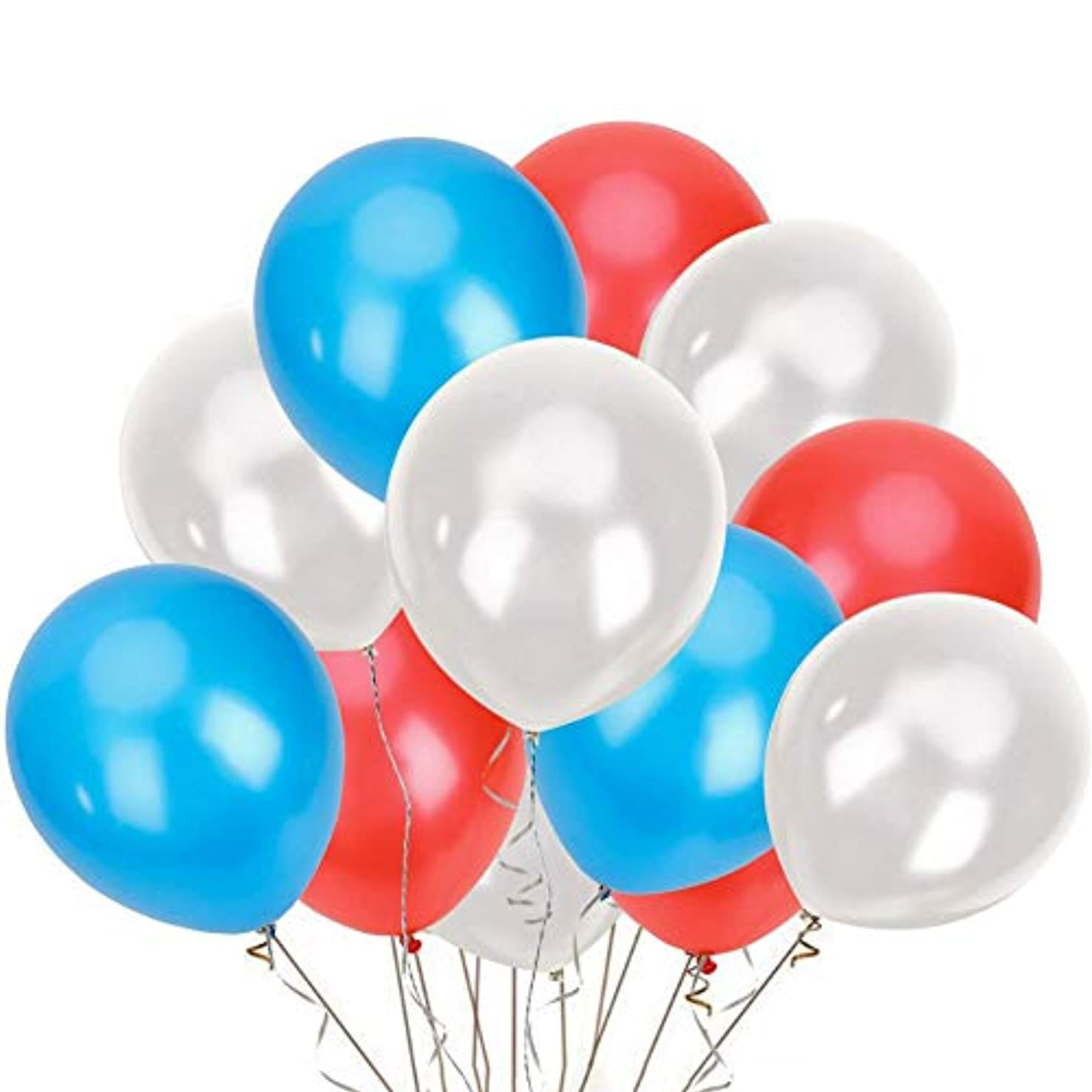 150 Pack 12 inch Patriotic Balloons Pearl Latex Balloon for 4th of July Party Favors American Independence Day Party Supplies Decorations