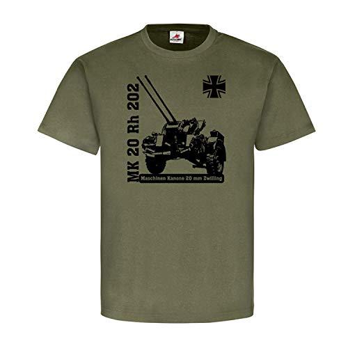 Maschinen Kanone 20mm Zwilling MK20 Rh 202 Flugabwehr Flak 2cm T Shirt #19949, Größe:XXL, Farbe:Oliv