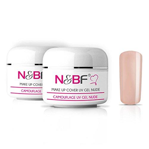 N&BF Make Up UV Gel 2x30 ml hellrosa | Camouflage Gel mittelviskos | Made in EU | Covergel für Babyboomer und French | Abdeck Gel rosa selbstglättend + säurefrei | Nagelgel deckend