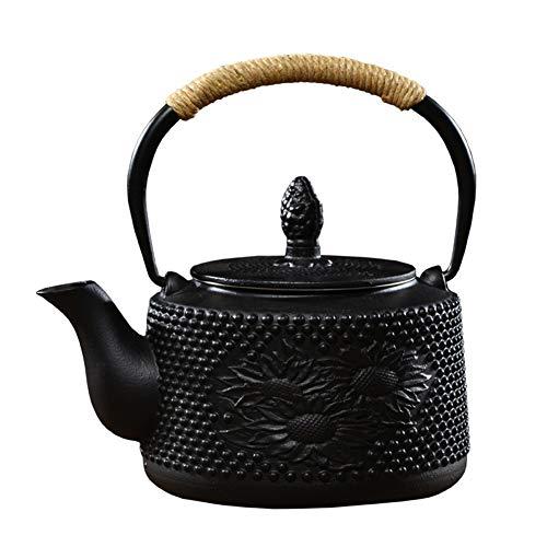 RTY Japanische Tetsubin Gusseisen Teekanne Tee-Kessel for Kochplatte mit Edelstahl-Filter/Infuser und Isolierung Griff, Schwarz 1200ml