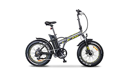 Argento Bicicletta elettrica Minimax Ruote Fat Pieghevole, Unisex Adulto, Silver, 42