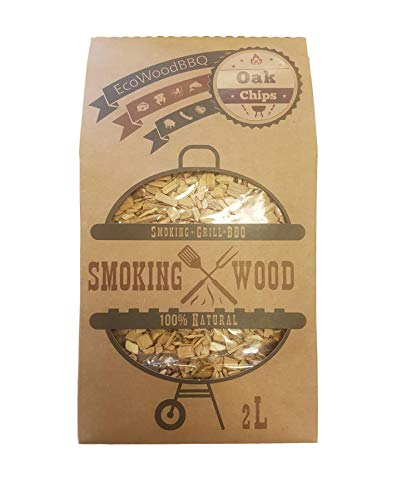 EcoWoodBBQ BBQ Barbecue Smoking Wood Chips Food Smoke Oak 2L 100% Natural No Chemicals