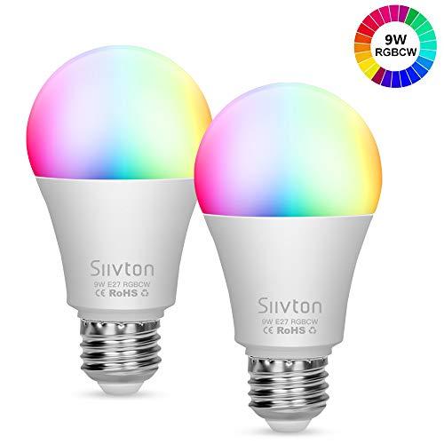 Lampadine Wi-Fi Siivton LED Smart Intelligente Lampadine [E27-9W] RGBCW Dimmerabile Smart Bulb A60,Compatibile con Alexa e Google Home, Controllo Remoto,No Hub Require