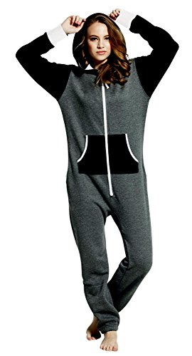 SKYLINEWEARS Women's Ladies Onesie Hoodie Jumpsuit Playsuit Char-Black S