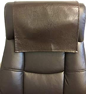 LUVFABRICS Furniture Protector, Recliner, Head Rest, Sofa, Love seat, Leather Protector, Computer Chair, Couch, Faux Leather Vinyl, Suede Backing (Light Brown Houston, 18 X 20 (Set of 2))
