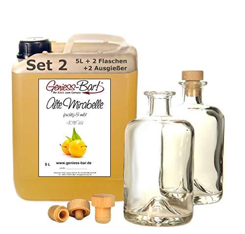 Alte Mirabelle 5L inkl. 2 Flaschen u. 2 Ausgießer intensiv fruchtig & sehr mild Schnaps Obstler kein Brand 40% Vol