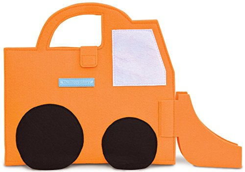 The Piggy Story Fuzzytown Bulldozer Child's Die-Cut Felt ArtFolio with Crayons and Doodle Pad for Portable Play