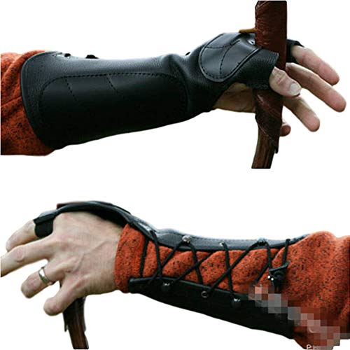 2PCSArchery Forearm Protector Arm Guard Armguard Archery Bow Archery Bracer/Archery Cowhide 2 Finger Protective Gloves for Archer Hunter Lightweight Hunting Target Shooting, Medieval Bracers (BROWN)